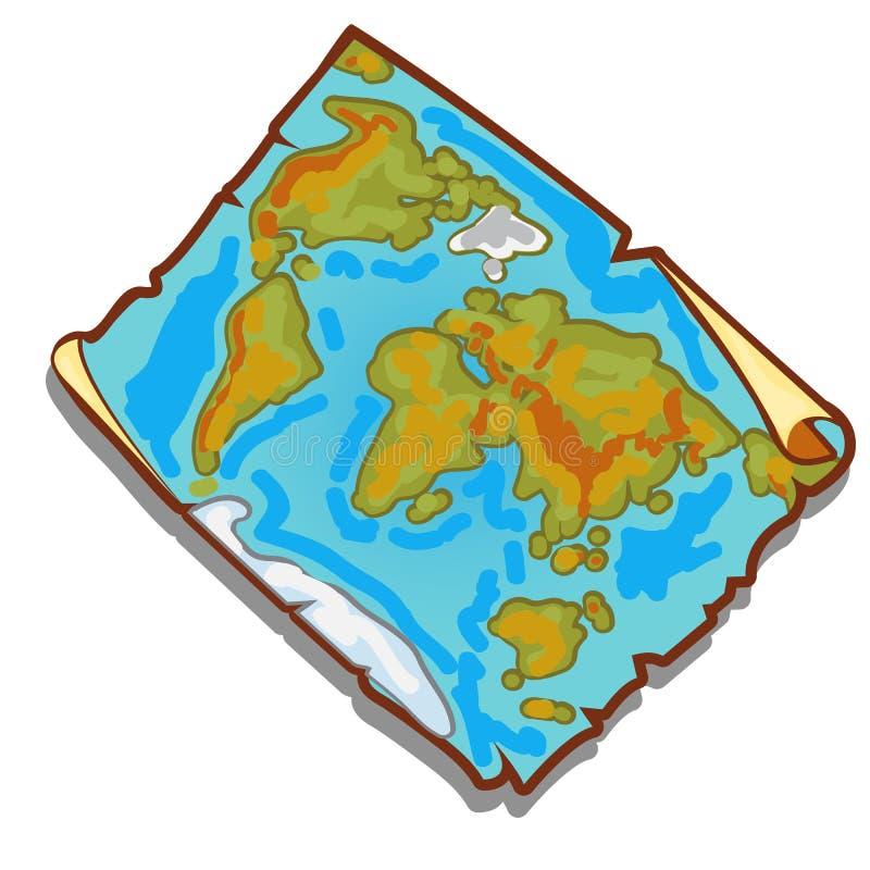 Uitstekende wereldkaart op het stuk van langzaam verdwenen oud document met gescheurde randen Vector illustratie vector illustratie