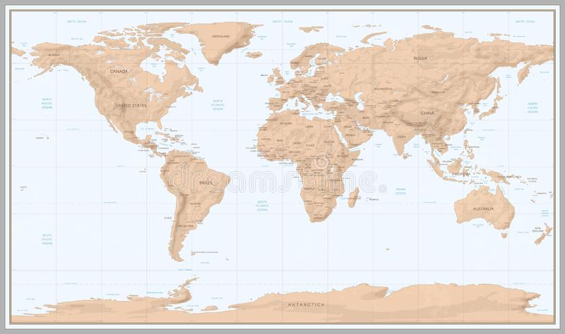 Uitstekende wereldkaart Retro grenzen van landen op topografische of mariene kaart Oude de kaartenvector van de continentennaviga vector illustratie