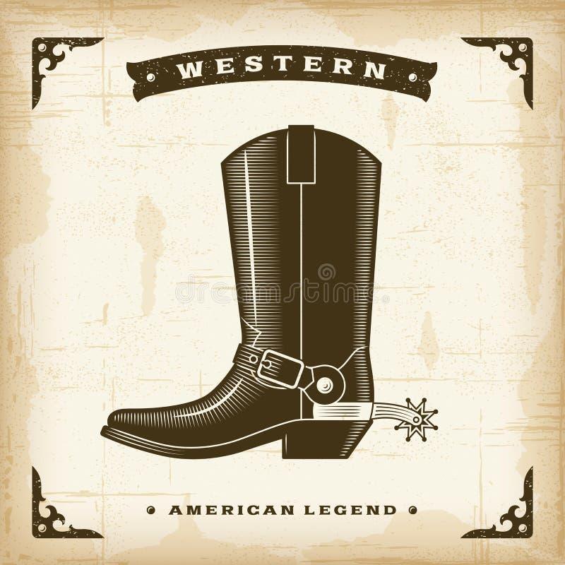 Uitstekende Westelijke Cowboy Boot royalty-vrije illustratie