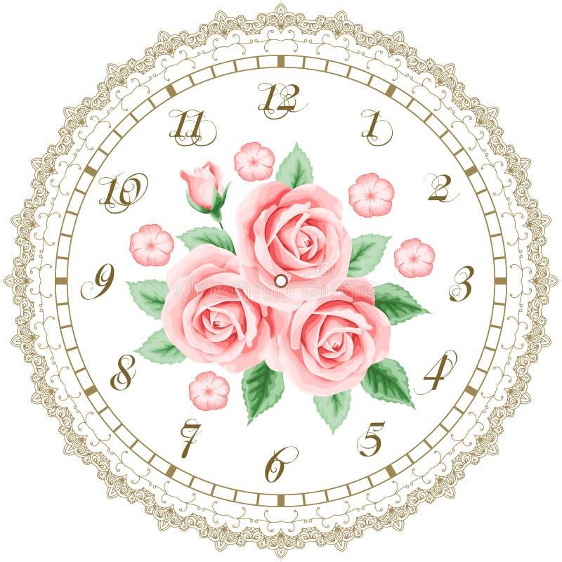 Uitstekende wijzerplaat met rozen vector illustratie