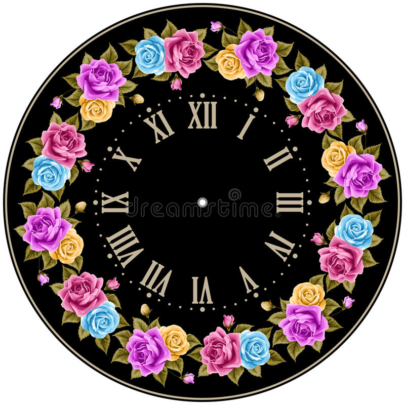 Uitstekende wijzerplaat met rozen royalty-vrije illustratie