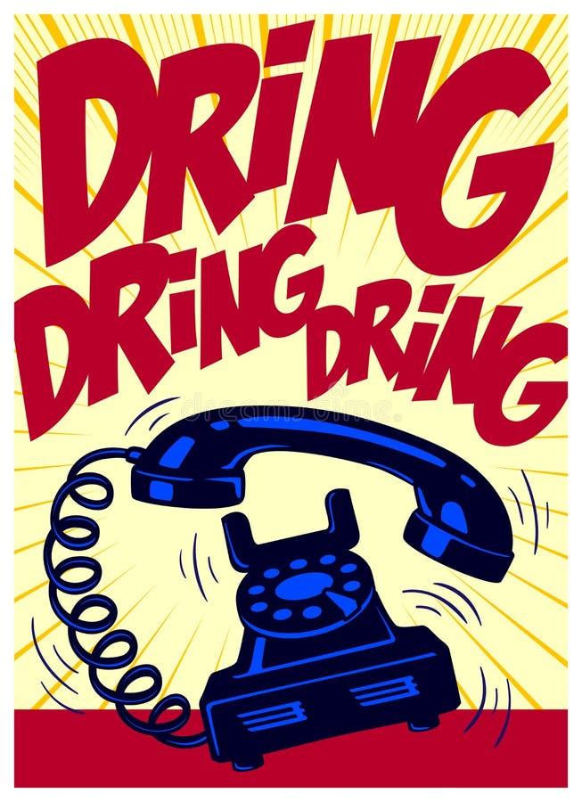 Uitstekende wijzerplaattelefoon die luid de stijl van de pop-artstrippagina vectorillustratie bellen royalty-vrije illustratie