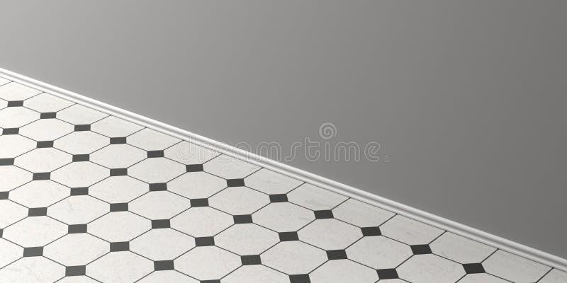 Uitstekende witte en zwarte keramische tegelsvloer, grijze muur en het witte begrenzen, perspectiefmening, exemplaarruimte 3D Ill vector illustratie