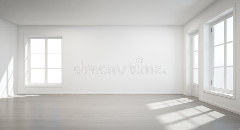 Uitstekende witte ruimte met deur en venster in nieuw huis stock fotografie