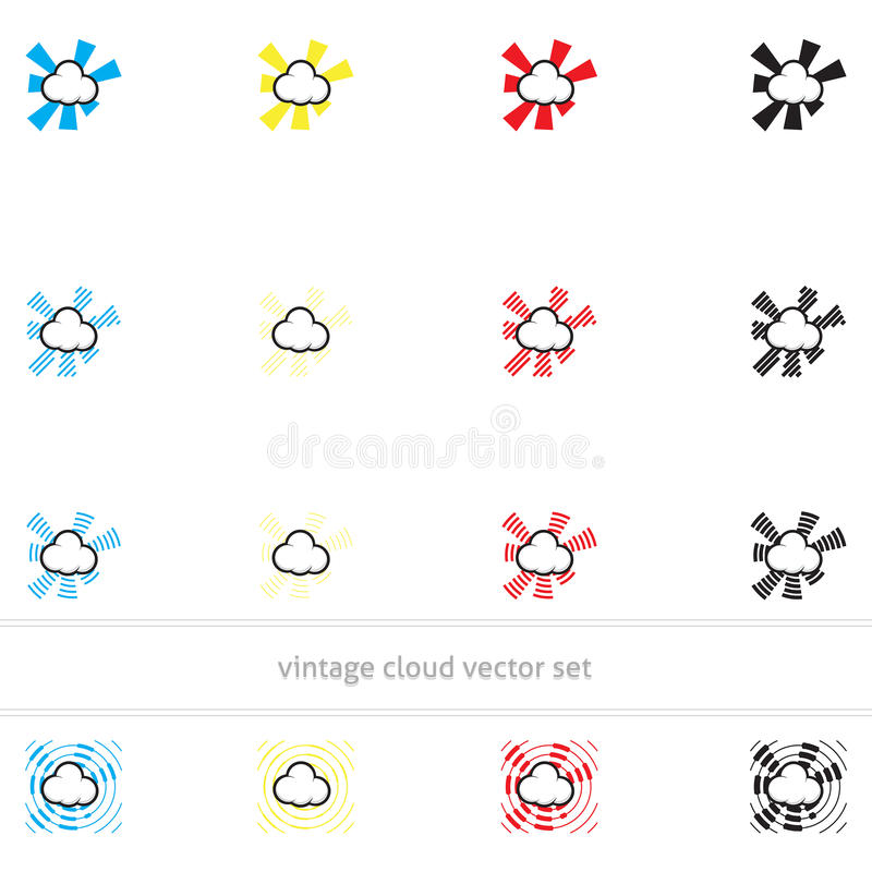 Uitstekende wolken vectorreeks stock foto's