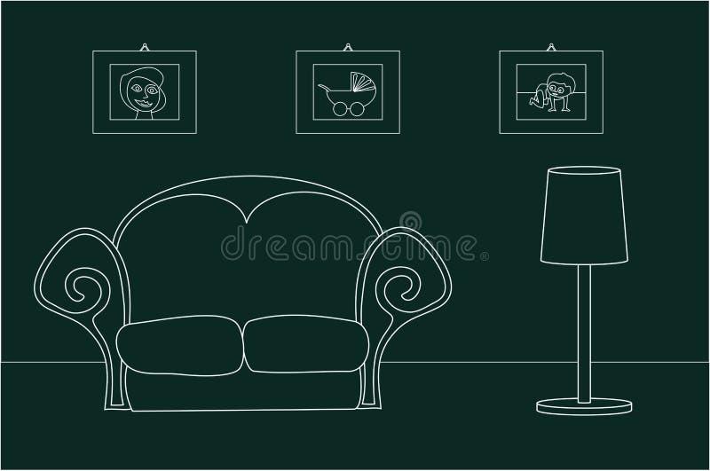 Uitstekende woonkamer. royalty-vrije illustratie