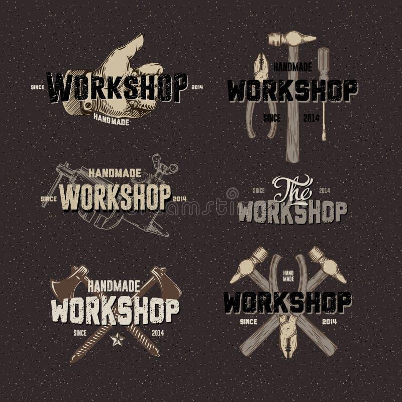 Uitstekende Workshop conceptuele etiketten royalty-vrije illustratie