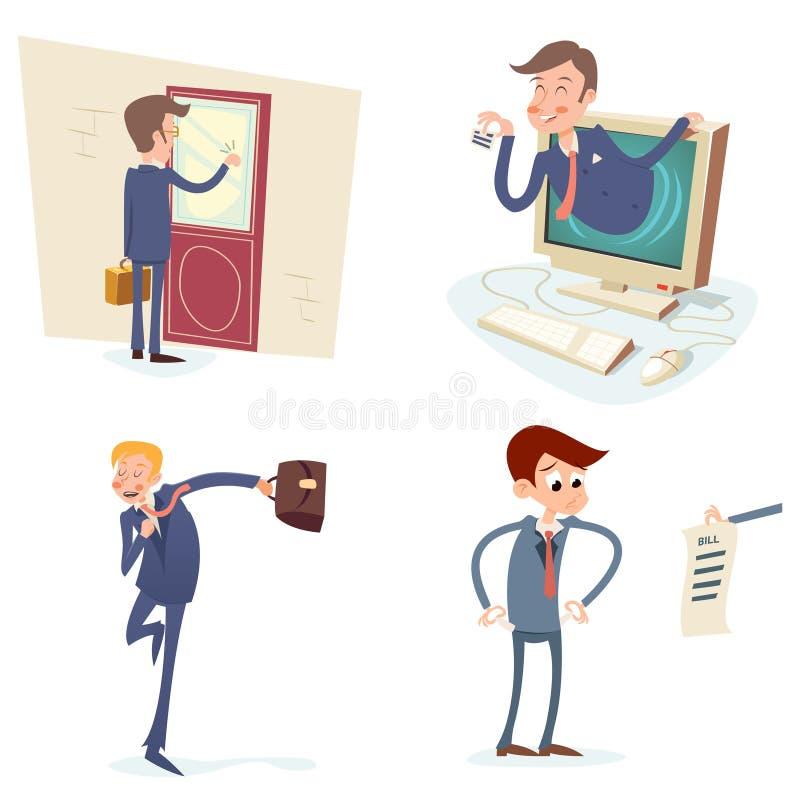 Uitstekende Zakenman Characters Set Icon op Modieus vector illustratie