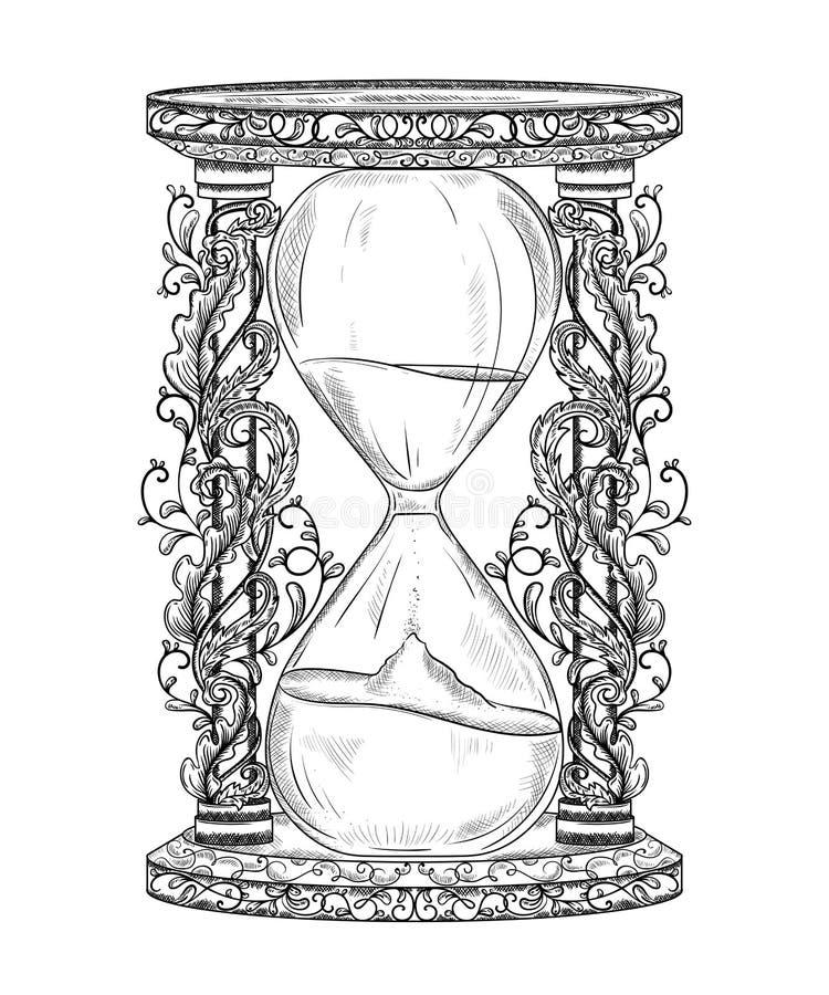 Uitstekende zandloper met bloemenornament Gegraveerde stijl Geïsoleerd Voorwerp royalty-vrije illustratie