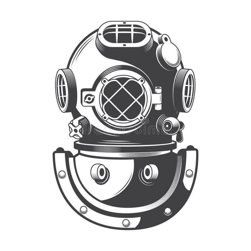 Uitstekende zeevaart het duiken helmvector royalty-vrije stock foto's