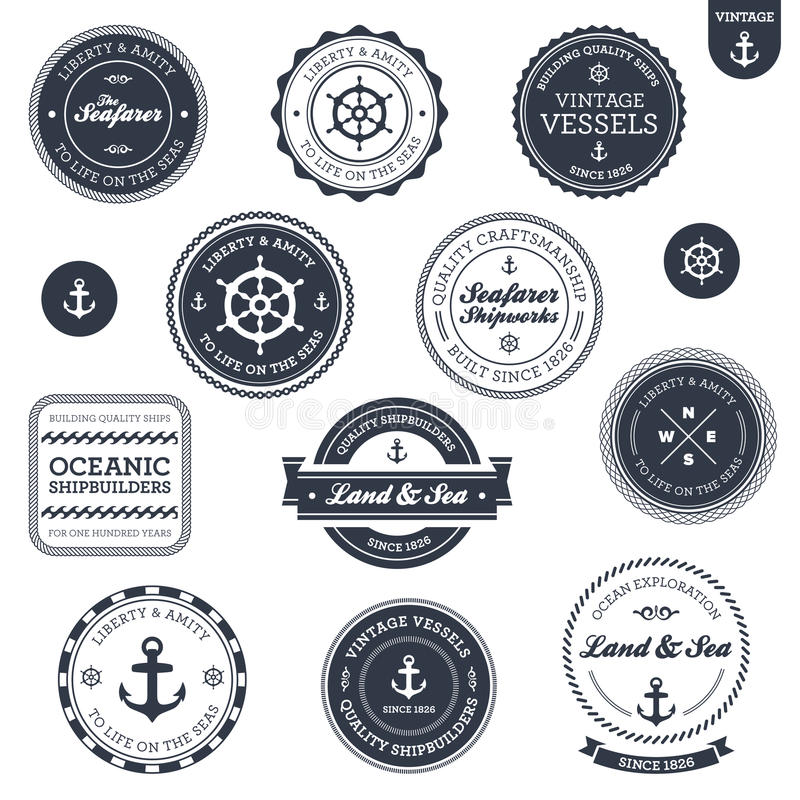 Uitstekende zeevaartetiketten vector illustratie