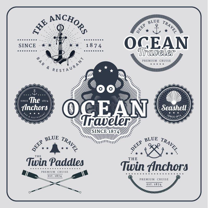 Uitstekende zeevaartetiketten vectorreeks vector illustratie