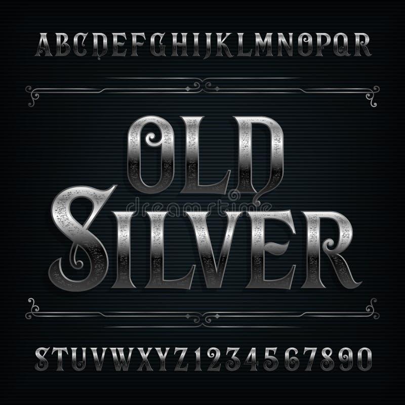 Uitstekende zilveren alfabetdoopvont Oude metaaleffect letters en getallen stock illustratie