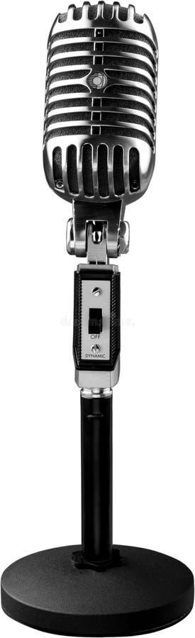 Uitstekende zilveren die microfoon op wit wordt geïsoleerd stock afbeelding
