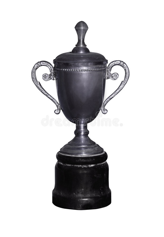 Uitstekende zilveren kop met weg royalty-vrije stock foto's