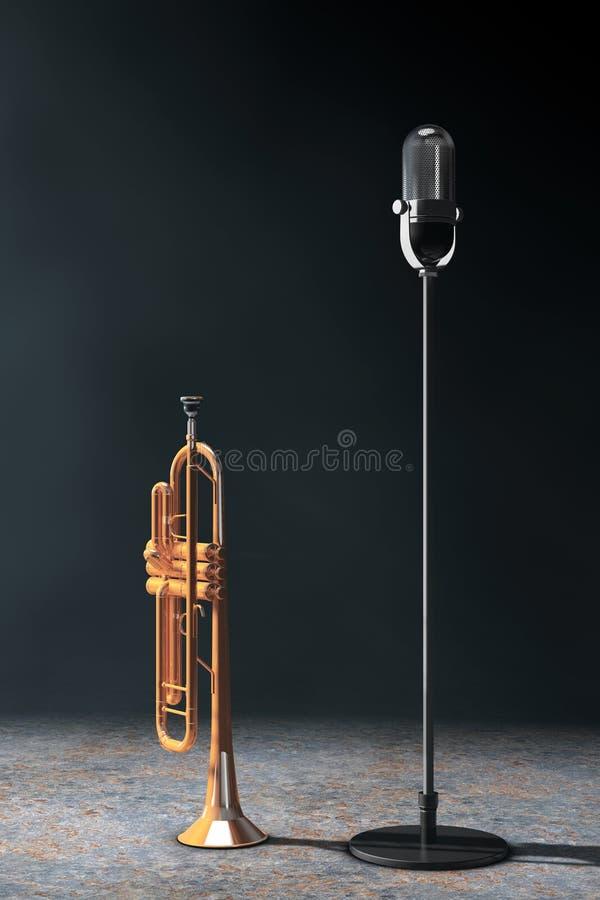 Uitstekende zilveren microfoon met Opgepoetste Messingstrompet in volume stock illustratie
