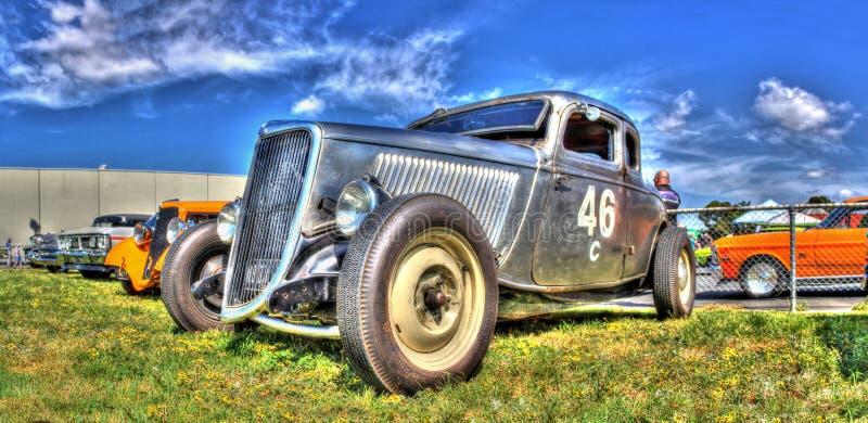 Uitstekende zilveren raceauto stock foto