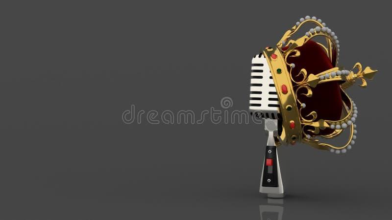 Uitstekende zilveren retro microfoon op grijze achtergrond stock illustratie