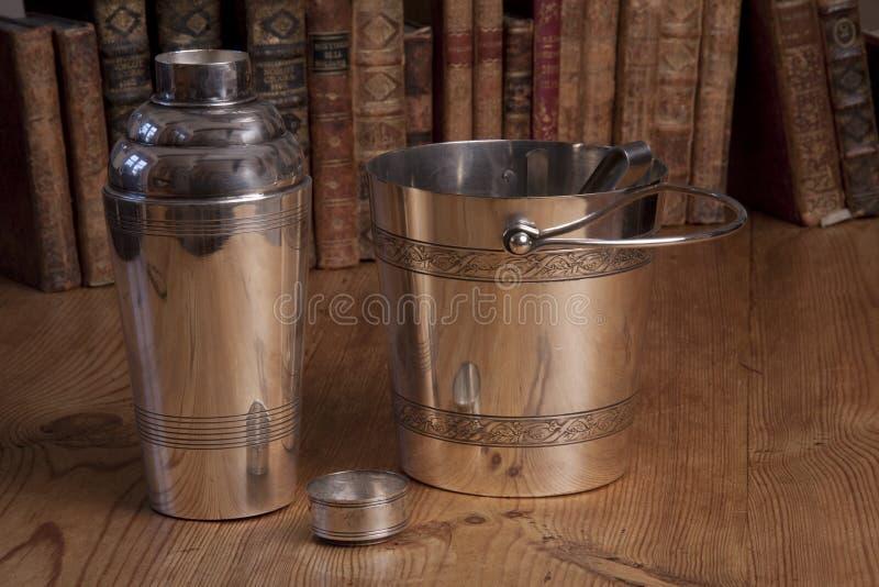 Uitstekende zilveren shakerreeks stock afbeeldingen