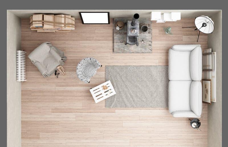 Uitstekende zolderwoonkamer met oud ijzerfornuis, modern binnenlands DE vector illustratie