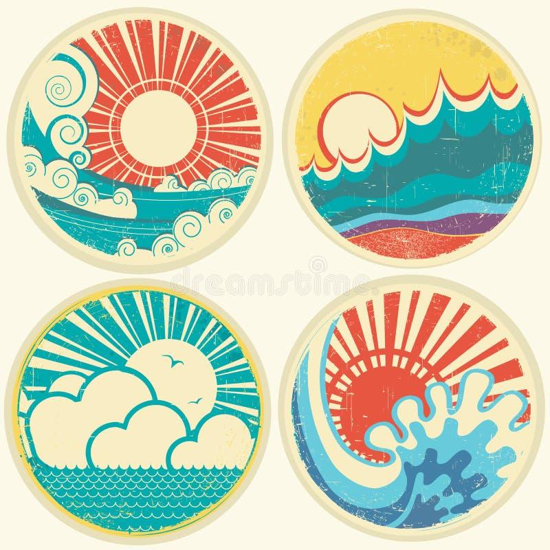 Uitstekende zon en overzeese golven. Vectorpictogrammen van illust vector illustratie