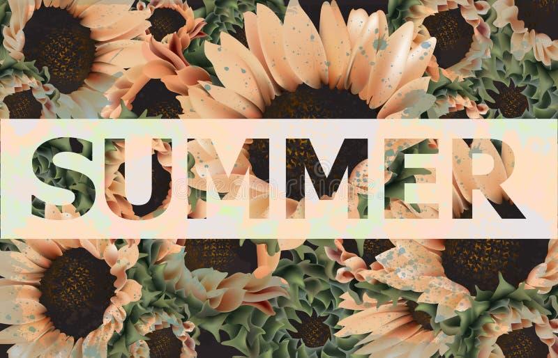 Uitstekende zonnebloemenvector als achtergrond Mooie de kaart oude geschilderde stijl van de de lentezomer r vector illustratie