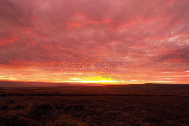 Uitstekende zonsondergang die de wolken geel, oranje en rood oplicht boven Danby Moor, Noord-York Moors National Park stock fotografie