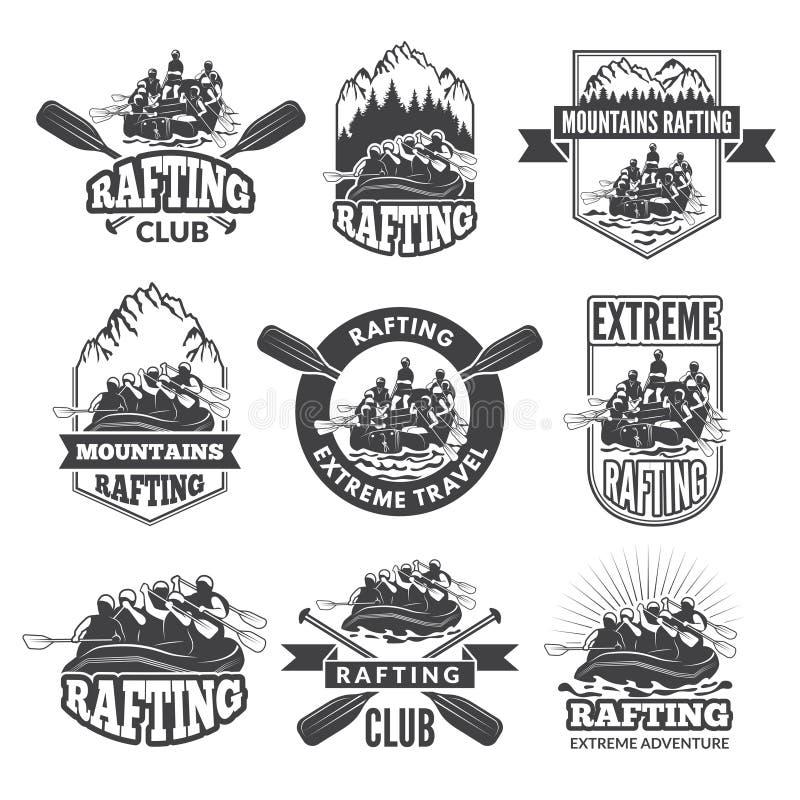 Uitstekende zwart-wit etiketten voor gevaarlijke watersporten Symbolen van het rafting Beelden van kajak stock illustratie