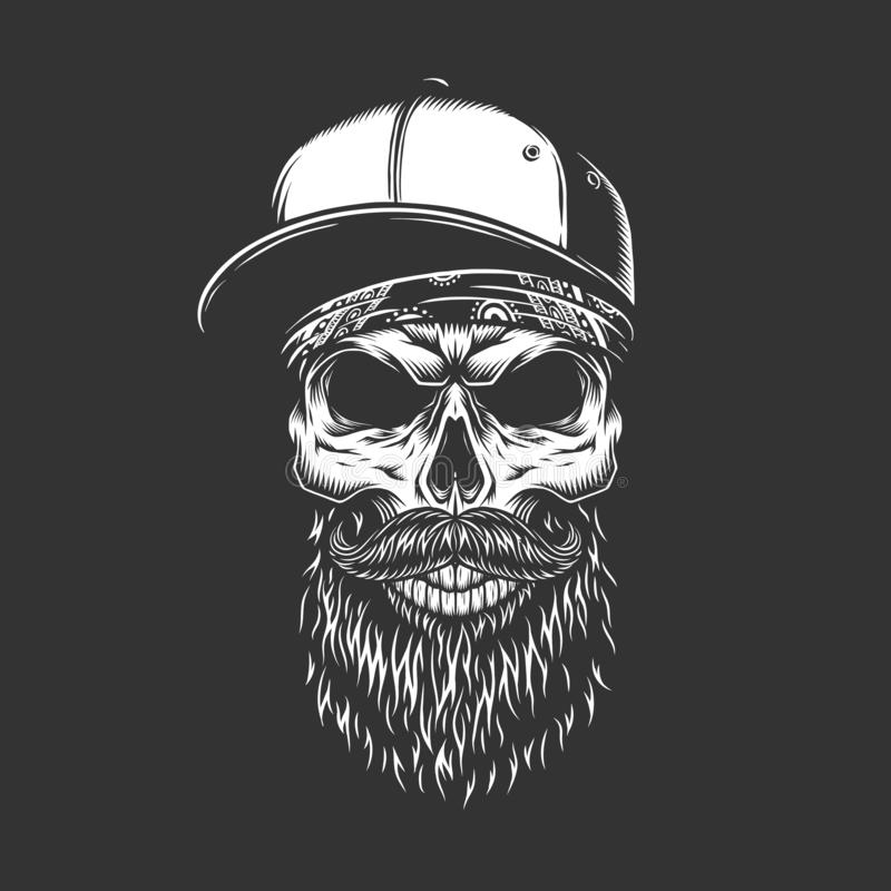 Uitstekende zwart-wit gebaard en mustached schedel royalty-vrije illustratie