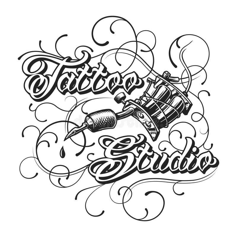 Uitstekende zwart-wit logotype van de tatoegeringsstudio vector illustratie