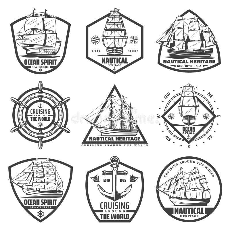 Uitstekende Zwart-wit Marine Labels Set vector illustratie