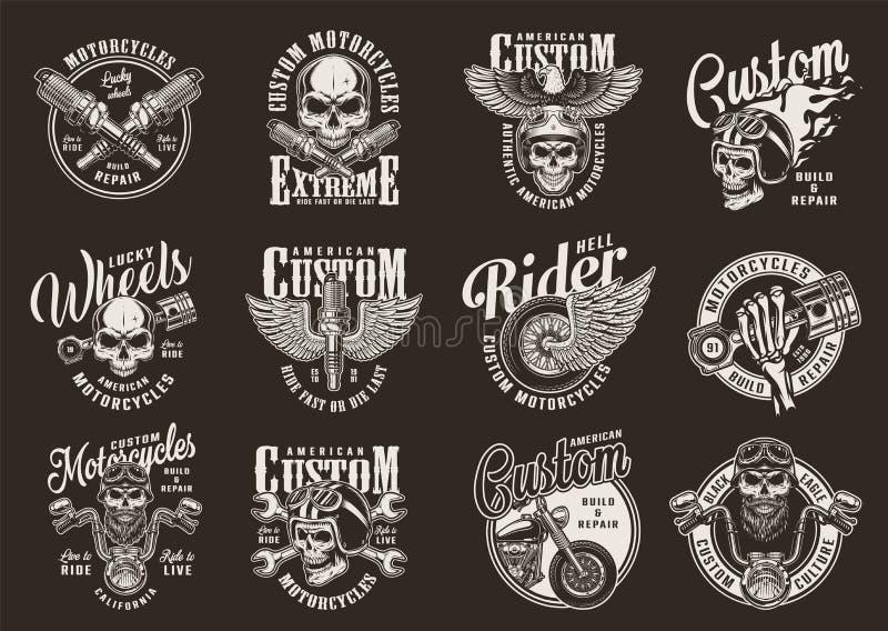 Uitstekende zwart-wit motorfietsdrukken stock illustratie