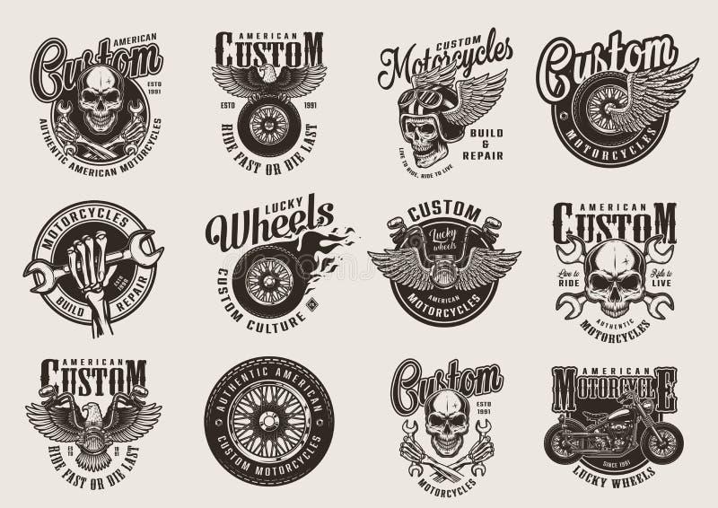 Uitstekende zwart-wit motorfietsemblemen vector illustratie