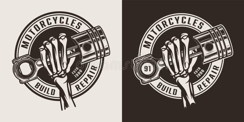 Uitstekende zwart-wit motorfietsworkshop om embleem stock illustratie