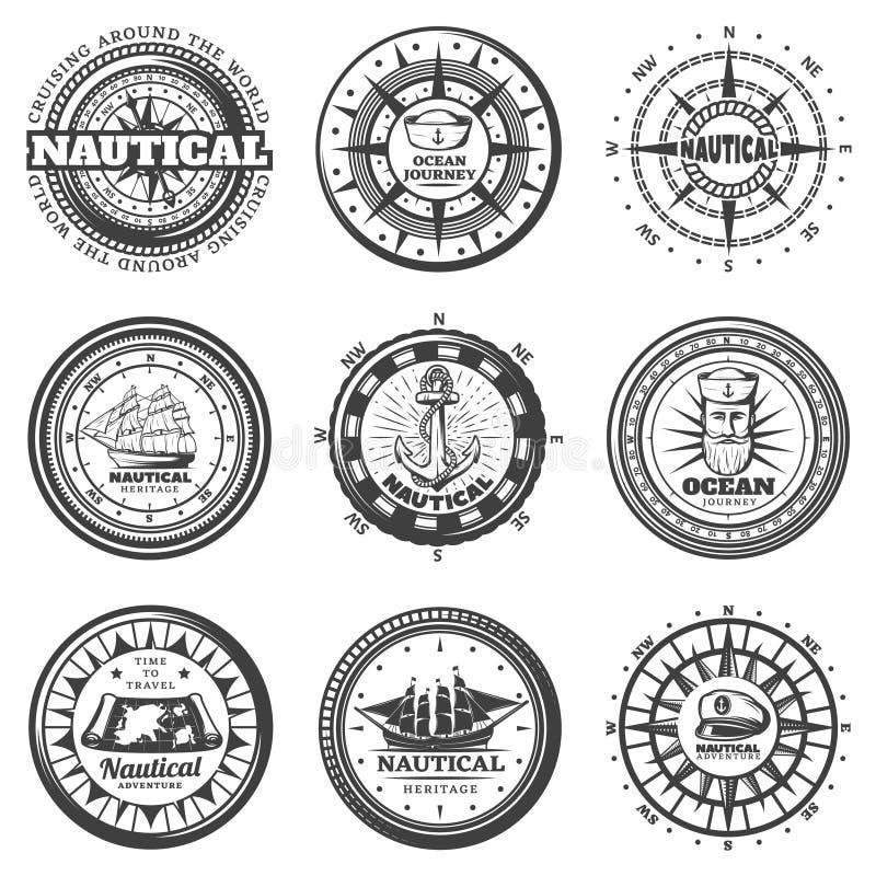 Uitstekende Zwart-wit Ronde Zeevaart Geplaatste Etiketten royalty-vrije illustratie