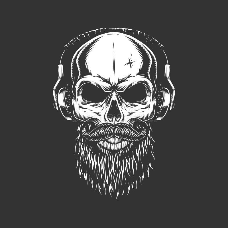 Uitstekende zwart-wit schedel die hoofdtelefoons dragen stock illustratie