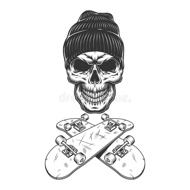 Uitstekende zwart-wit skateboarderschedel stock illustratie