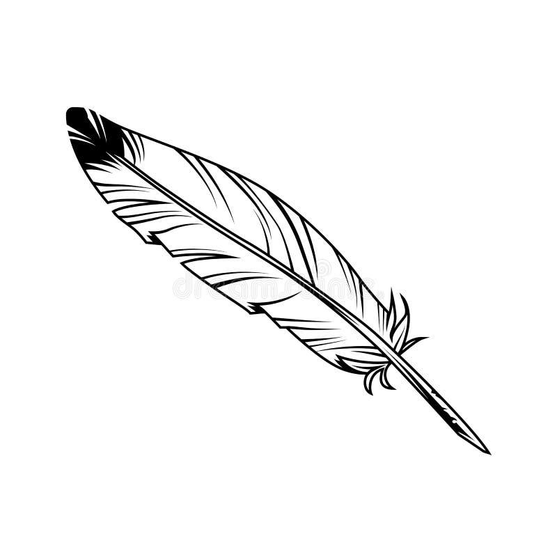 Uitstekende zwart-wit veerpen met inkt royalty-vrije illustratie