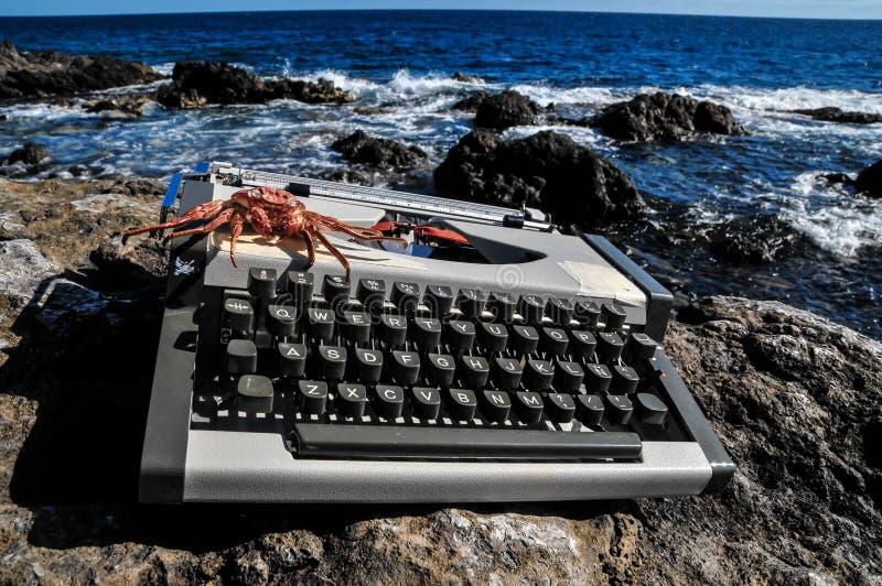 Uitstekende zwart-witte Reisschrijfmachine stock afbeelding