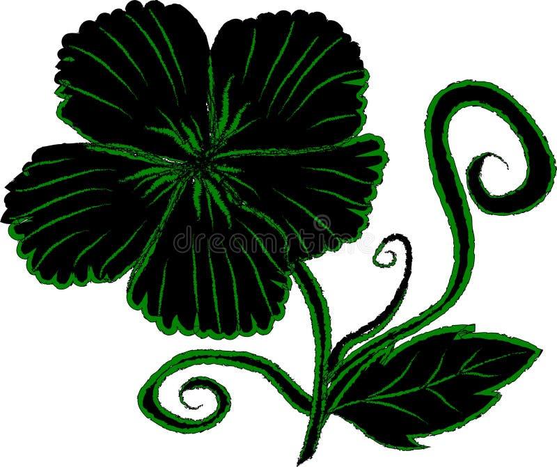 Uitstekende zwarte de plantkundedecoratie van de bloemkunst stock foto