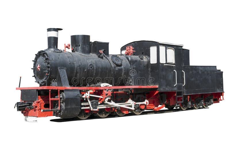 Uitstekende zwarte locomotief die op wit algemeen plan wordt ge?soleerd als achtergrond stock foto
