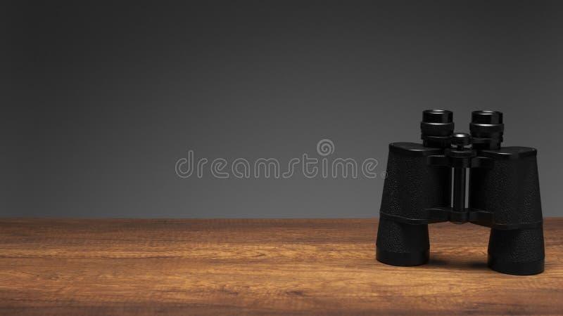 Uitstekende zwarte verrekijkers op houten lijst en grijze achtergrond stock afbeelding