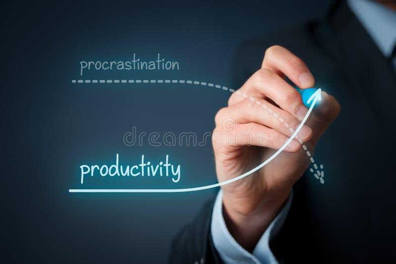 Uitstel versus productiviteit stock foto