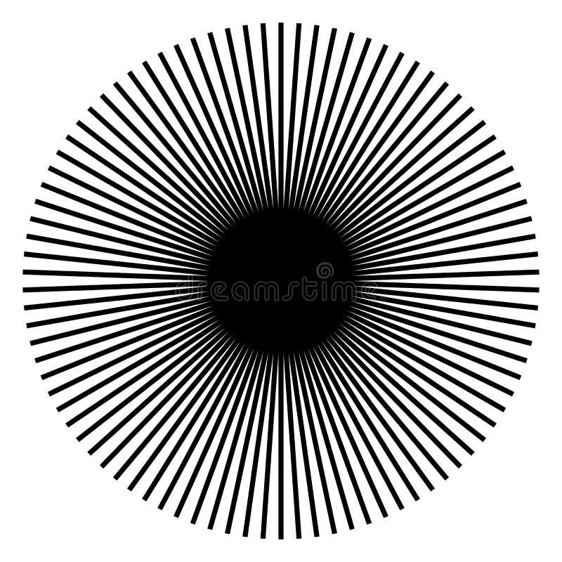 Uitstralend, radiale lijnen Starburst, zonnestraalvorm Ray, straalli royalty-vrije illustratie