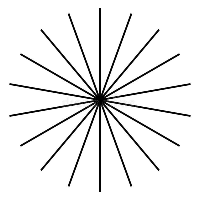 Uitstralend, radiale lijnen Starburst, zonnestraalvorm Ray, straalli stock illustratie