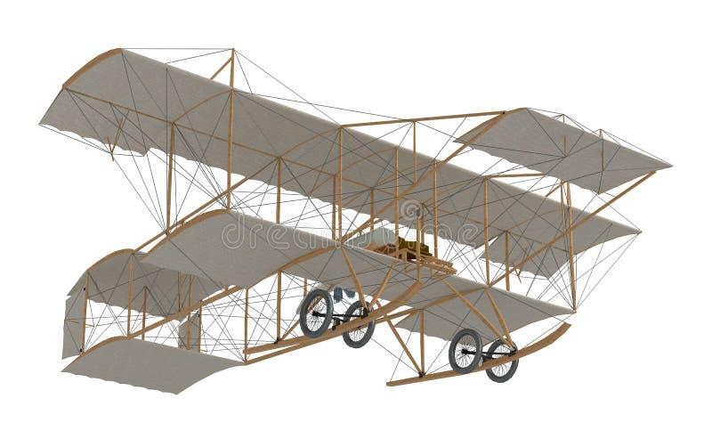 Uitvinders eerste vliegtuig royalty-vrije illustratie