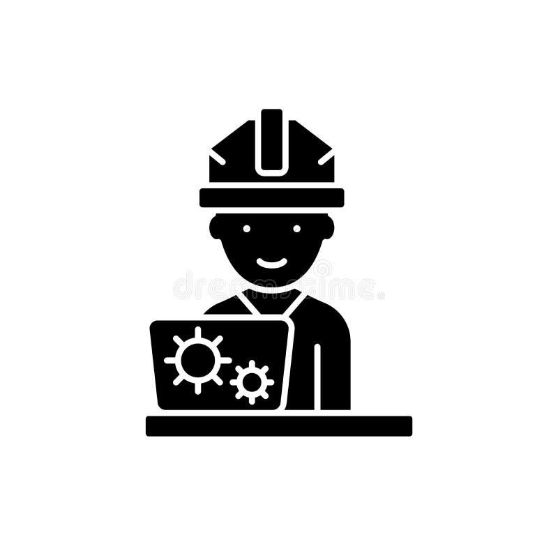 Uitvinders zwart pictogram, vectorteken op geïsoleerde achtergrond Het symbool van het uitvindersconcept, illustratie stock illustratie