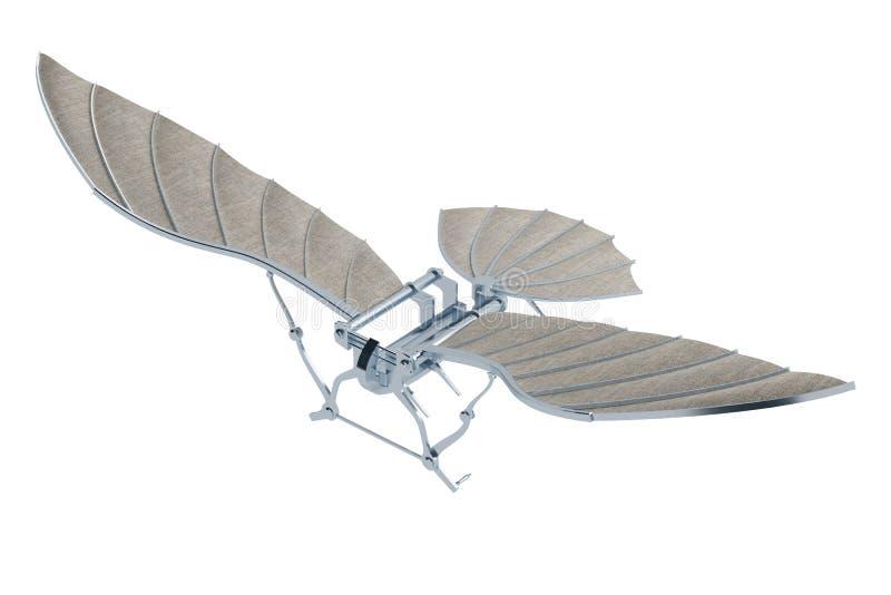Uitvinding van vliegtuigen van Leonardo da Vinci op wit wordt geïsoleerd dat royalty-vrije illustratie