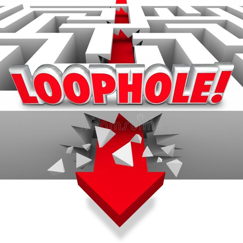Uitvluchtpijl die door Maze Avoid Paying Taxes Cheating verpletteren stock illustratie