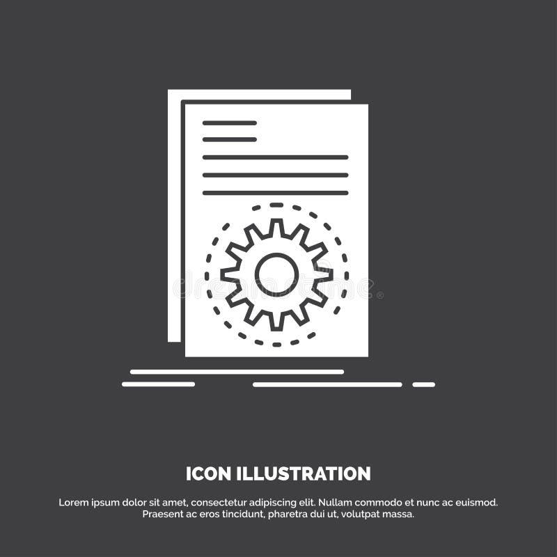 Uitvoerbare code, dossier, het lopen, manuscriptpictogram glyph vectorsymbool voor UI en UX, website of mobiele toepassing royalty-vrije illustratie
